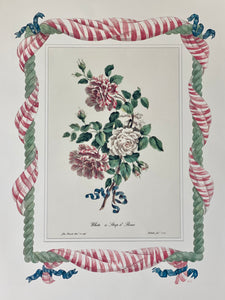 Striped Roses antique print with hand-painted roping and striped fabric border.