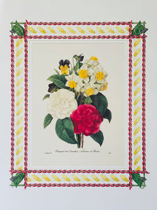 Camelia antique print with hand-painted ribbon border
