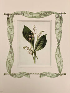 Lily of the Valley antique print with hand-painted fabric border