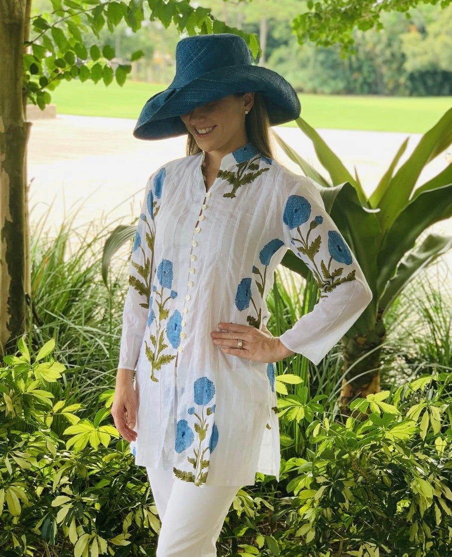 The Palm Beach Tunic in Blue Poppy