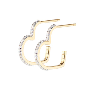 Love Heart Diamond Hoops