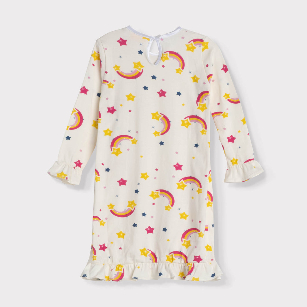 Girls Ruffle Long Sleeve Daywear Dress, Rainbows