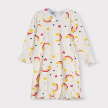 Load image into Gallery viewer, Girls Ruffle Long Sleeve Daywear Dress, Rainbows