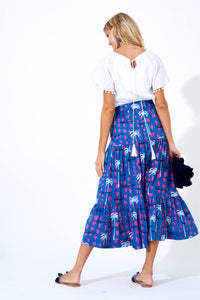Ipanema Blue Button Front Skirt