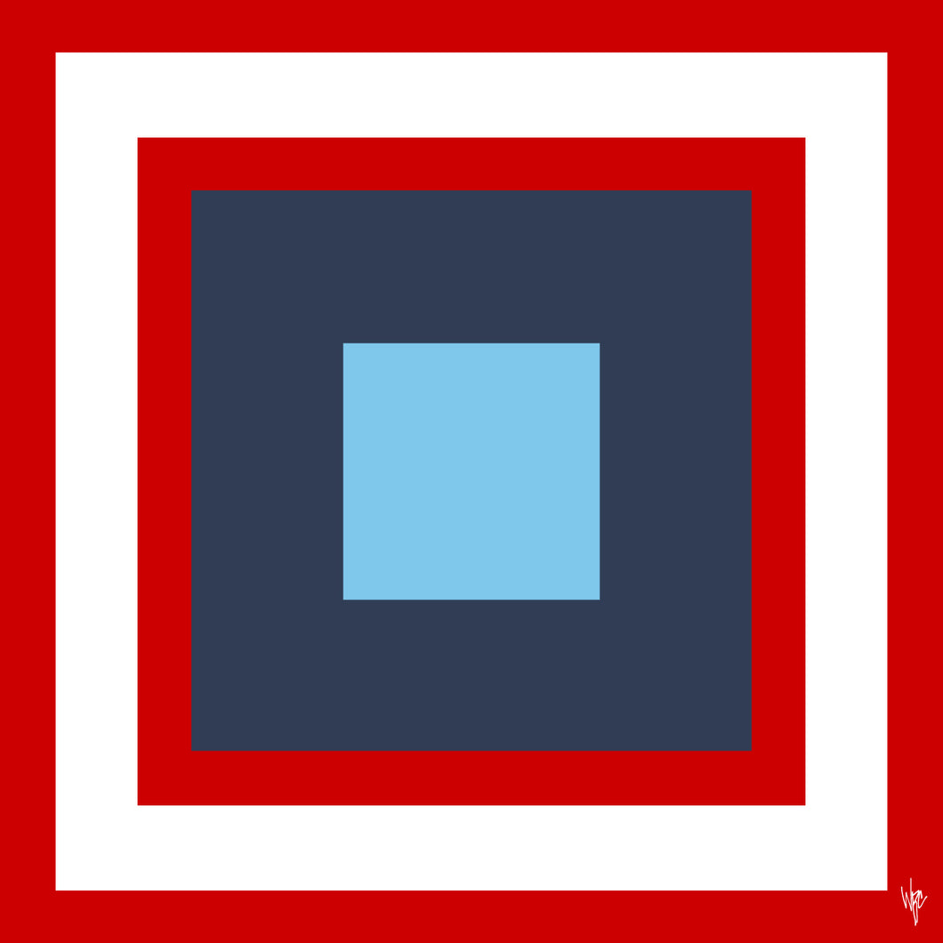 SQUARES Double Red Navy