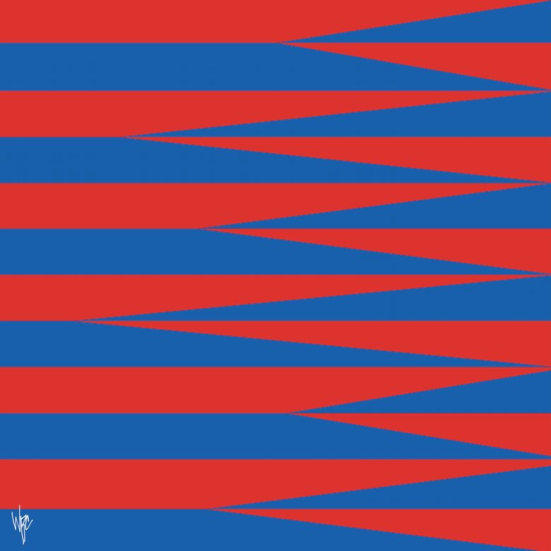 SHARDS AND STRIPES Red Blue