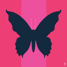 Load image into Gallery viewer, BUTTERFLY SKY Navy Pink Stripes