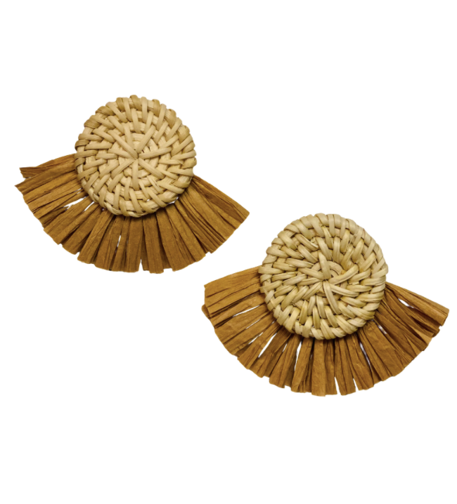 Full Moon Light Rattan Fan Earring
