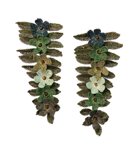 Green Fern Crochet Earrings