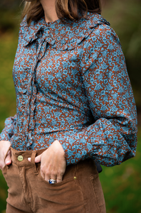 The Josephine Shirt, Brown / Turquoise