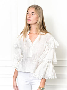 The Cream Tiered Sleeve Shirt w/ Crochet Trim