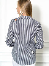 Load image into Gallery viewer, The Boyfriend Shirt in Stars and Stripes, Grey/White