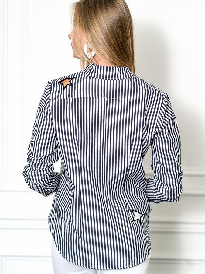 The Boyfriend Shirt in Stars and Stripes, Grey/White