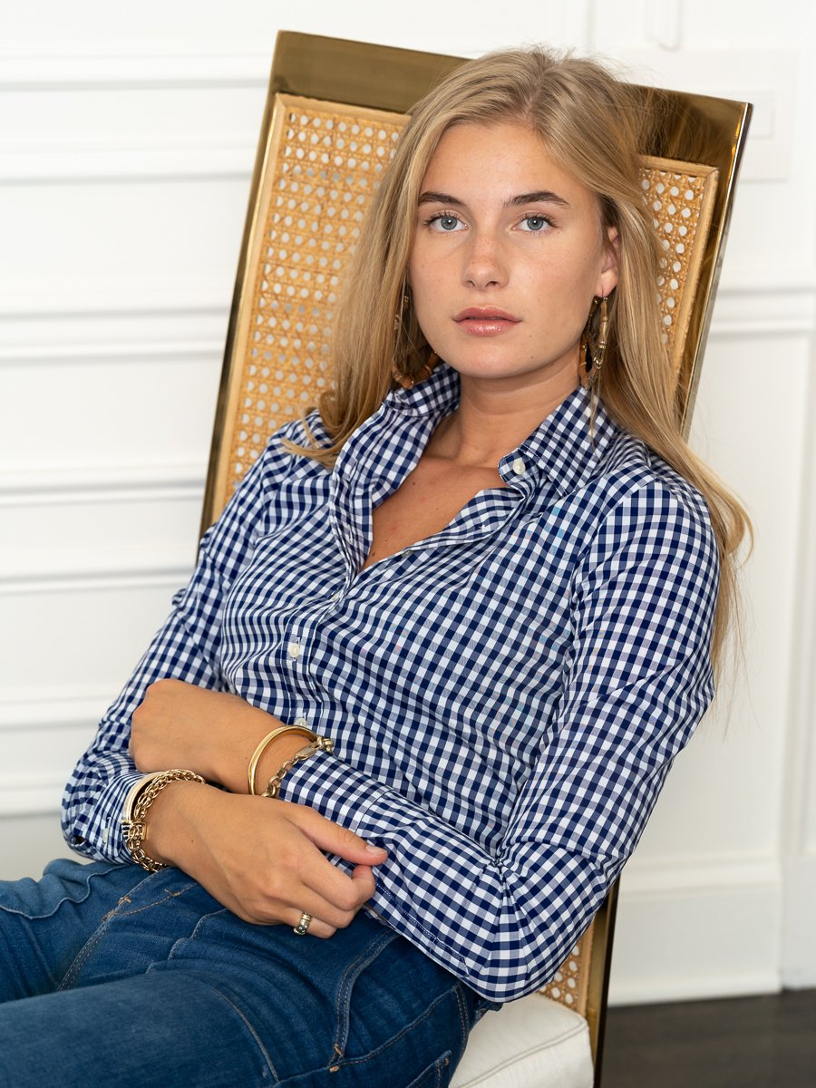 The Icon Shirt in Large Check, Navy