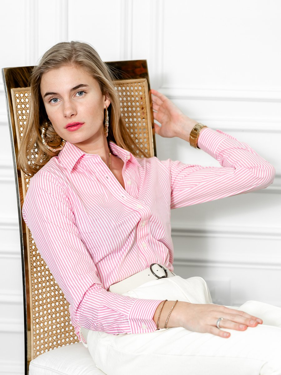 The Icon Shirt in Stripe, Pink/White