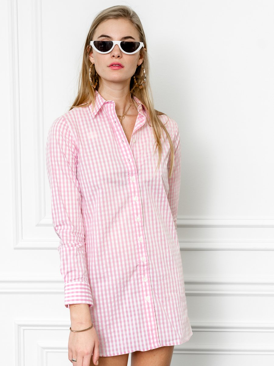 The Cotton Shirtdress, Pink/White