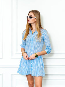 The Drop Waist Shirt Dress, Sky Blue Check