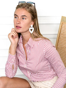 The Icon Shirt in Stripe, Washed Red/White
