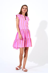 Zedi Lilac Roll Sleeve Dress
