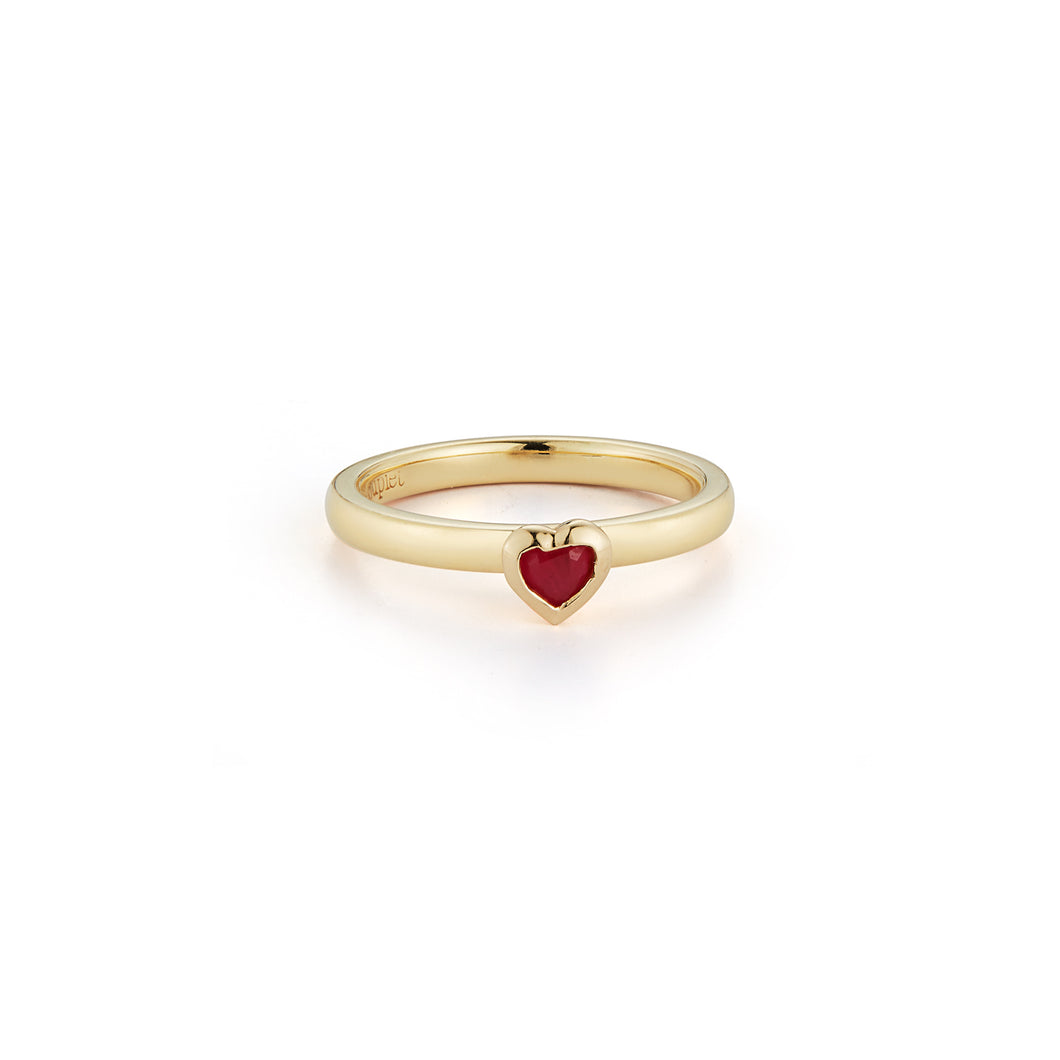 Les Classiques Ruby Heart Pinky Ring