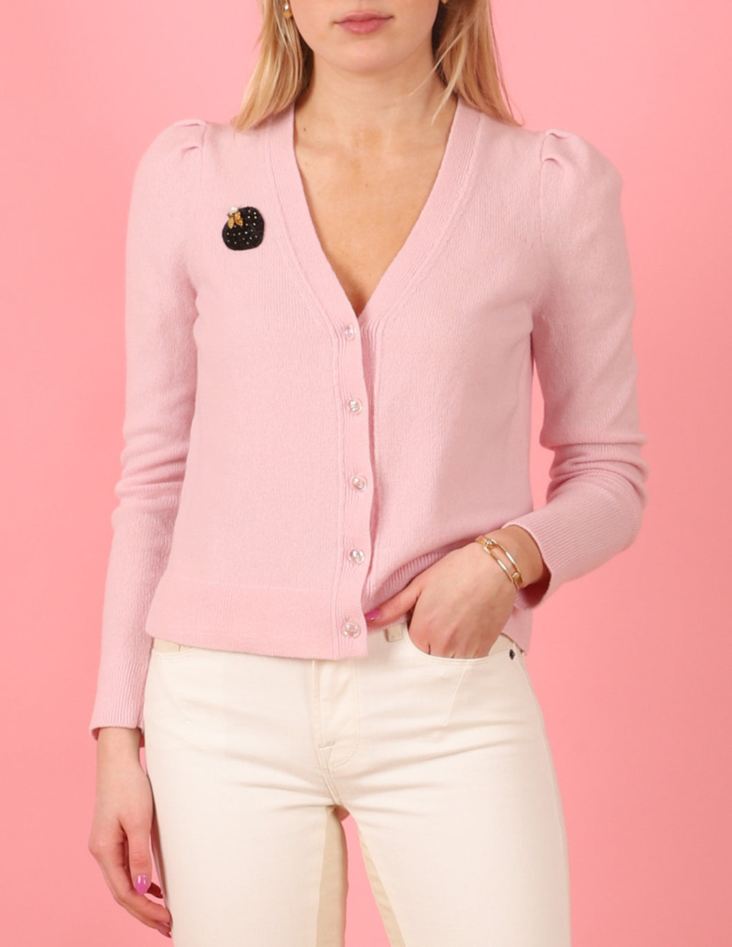 Puff Sleeve Petite Cardigan, Stawberry Petal