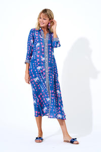 Ipanema Blue Shirt Dress Maxi
