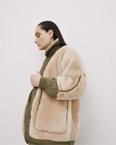The Reversible Shearling Bomber, Blush