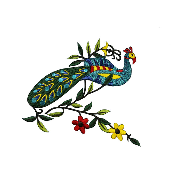 ID 0041A Shiny Peacock With Flowers Patch Wild Bird Embroidered Iron On Applique