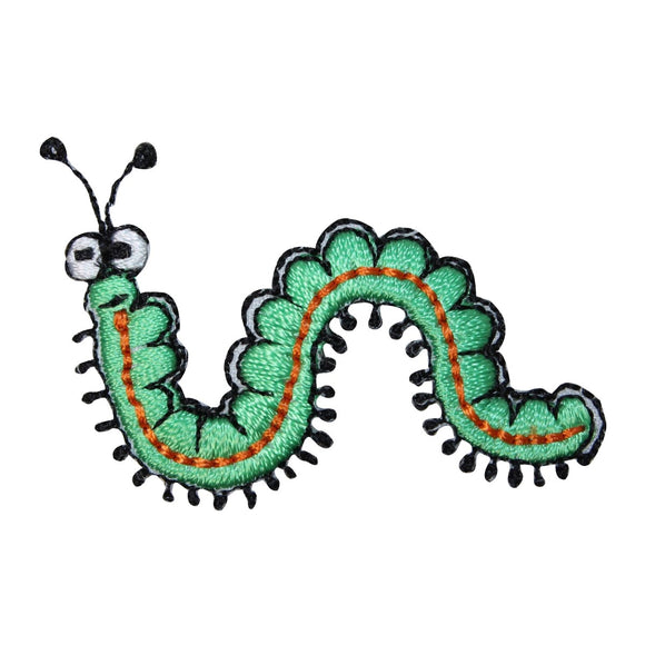 ID 0423AB Set of 2 Caterpillar Patches Insect Bug Embroidered Iron On Applique