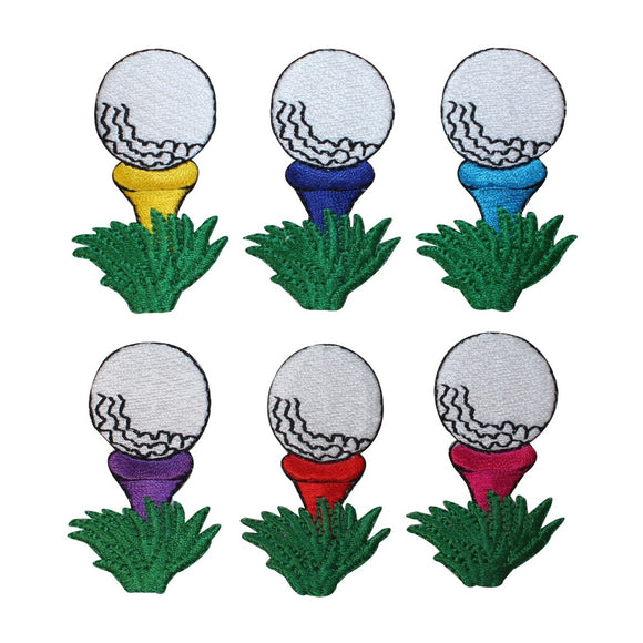 ID 1595A-F Set of 6 Golf Ball On Tee Patches Embroidered Iron On Applique