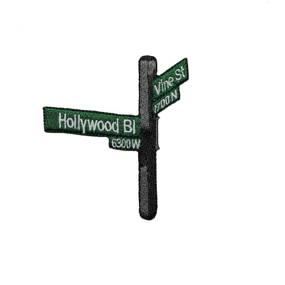 ID 3068 Hollywood BLVD Street Sign Patch Travel Embroidered Iron On Applique