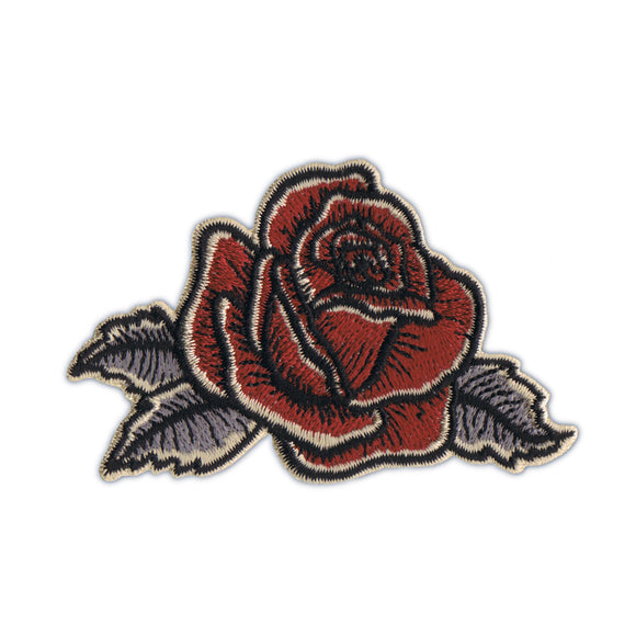 Antique Rose Flower Patch Artist Kruse Facing Right Embroidered Iron On Applique
