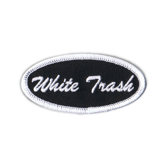 White Trash Name Tag Patch Novelty Badge Embroidered Iron On Applique