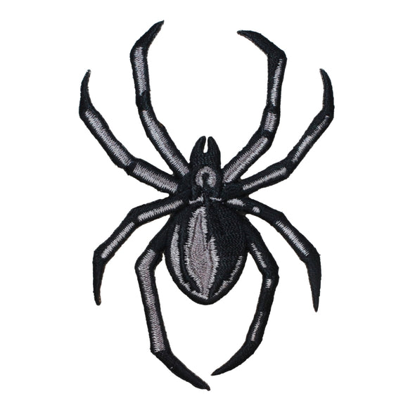 Black Grey Spider Patch Arachnid Creepy Halloween Embroidered Iron On Applique