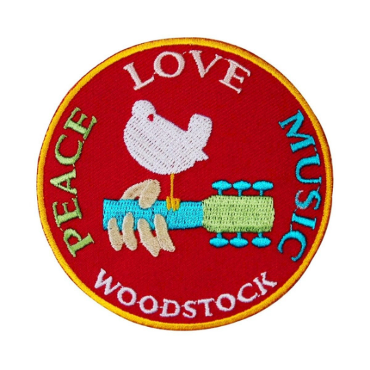 Woodstock Festival Patch Peace Love & Music Dove Embroidered Iron On Applique