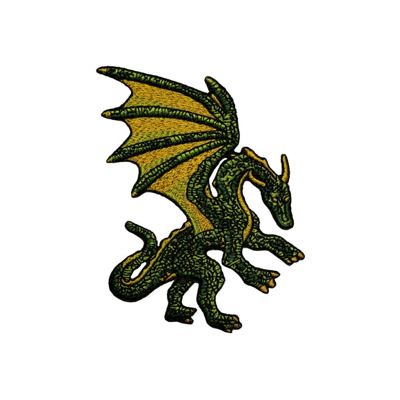 Green Fantasy Dragon Patch Myth Creature Serpent Embroidered Iron On Applique