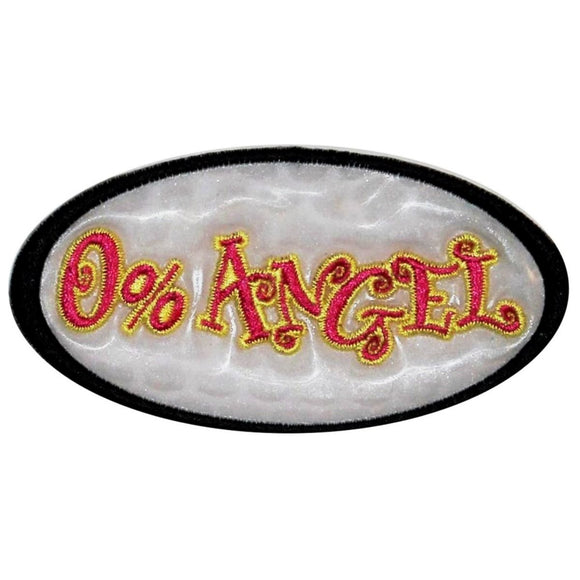 White 0% Angel Holographic Patch Girls Badge Biker Embroidered Iron On Applique