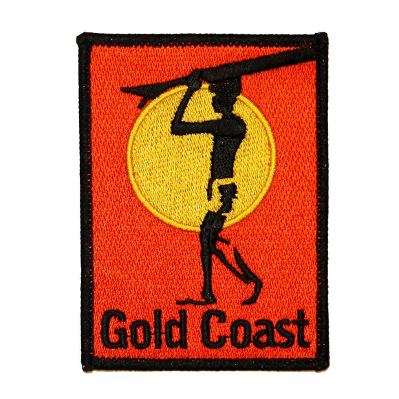 Gold Coast Surfboard Patch Beach Bum Ocean Surf Embroidered Iron On Applique