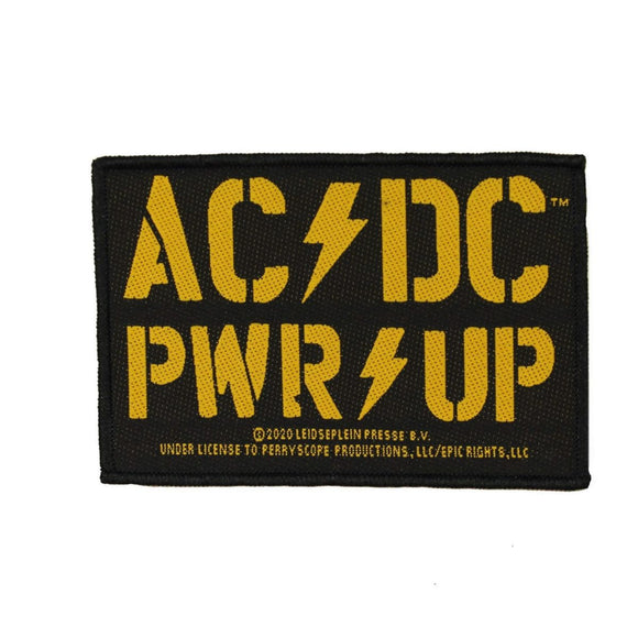 AC/DC ACDC Yellow PWR UP Logo Patch Hard Rock Music Band Woven Sew On Applique