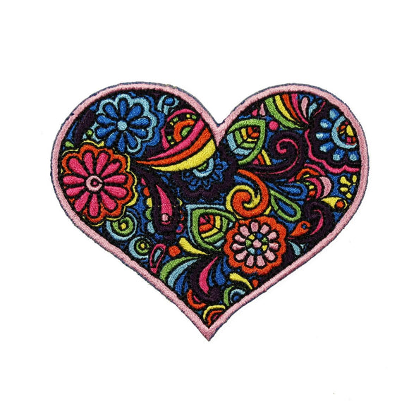Paisley Heart Patch Love Flowers Colorful Hippie Embroidered Iron On Applique