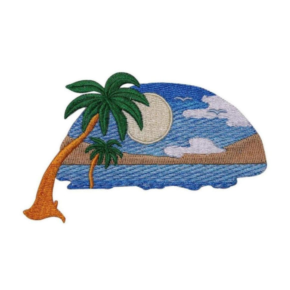 Tropical Sunset Patch Sun Beach Scene Paradise Embroidered Iron On Applique