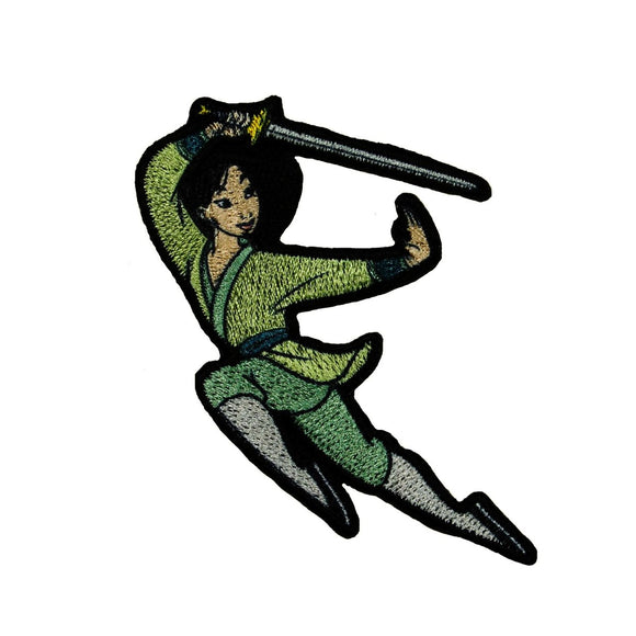 Princess Mulan Sword Stance Patch Disney Character Warrior Iron On Applique