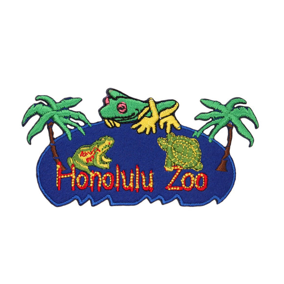 Honolulu Zoo Hawaii Patch Travel Badge Tropical Embroidered Iron On Applique
