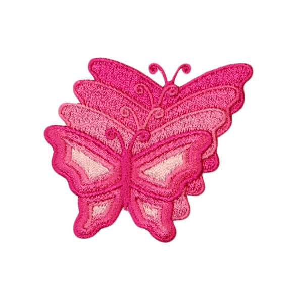 Pink Butterfly Series Patch Pretty Garden Insect Embroidered Iron On Applique
