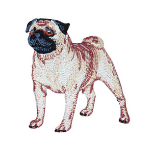 Pug Dog Standing Patch Puppy Pet Cute Canine Embroidered Iron On Applique