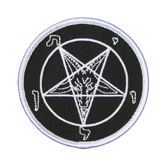 White Pentagram Satan Goat Head Patch Baphomet Embroidered Iron On Applique