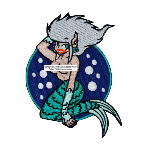 Topless Mermaid Patch Sailor Dream Girl Fantasy Embroidered Iron On Applique