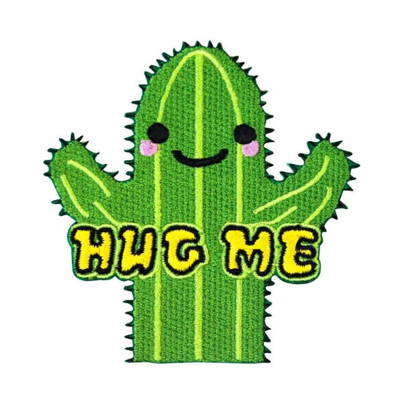 Hug Me Friendly Cactus Patch Cute Funny DIY Craft Apparel Iron On Applique