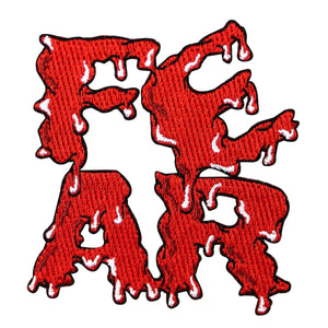 Blood Soaked FEAR Letters Patch Kreepsville Horror Embroidered Iron On Applique