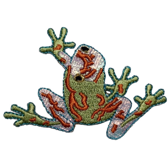 ID 0025 Green Frog Patch Looking Back Climb Embroidered Iron On Badge Applique